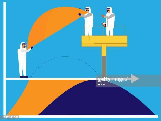 ilustrações de stock, clip art, desenhos animados e ícones de the curve is flattened by medical professionals lifting the top of it off. - aplanar a curva