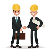 The customer and the contractor. Handshake men dressed in busine
