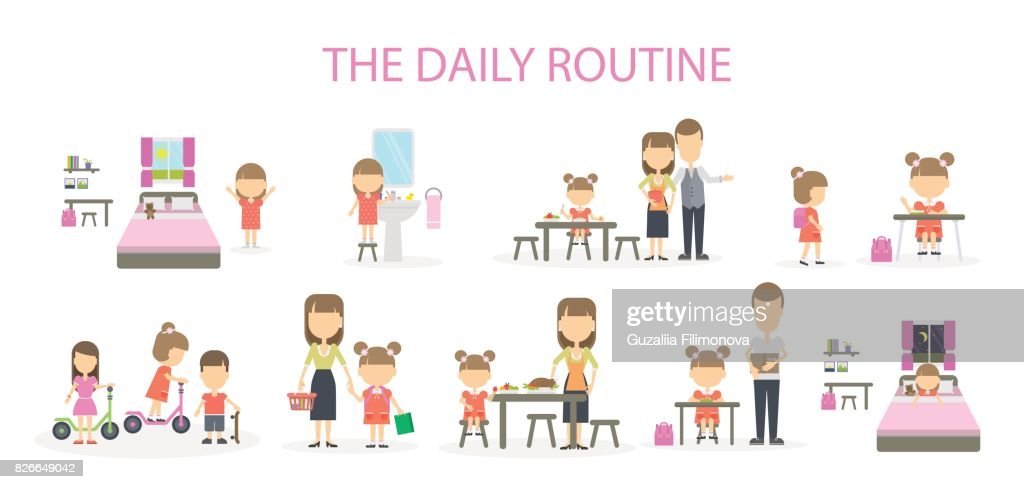 The daily routine of a girl.
