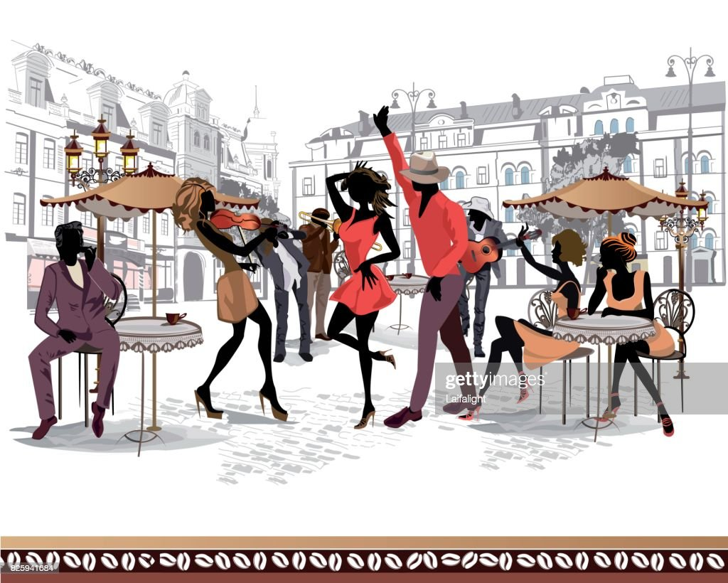 The dancing couples in the street cafe with the musician.