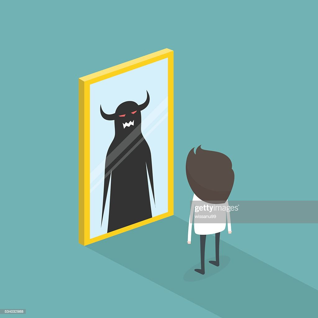 The dark side of human. The mirror concept. vector illustration