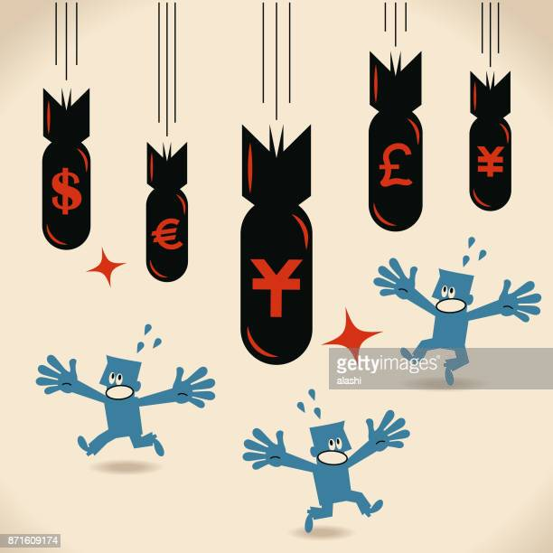 The death of money, currency crash, bomb with yuan, dollar, yen, euro, pound sign falling, investor (businessman) running away (escape)