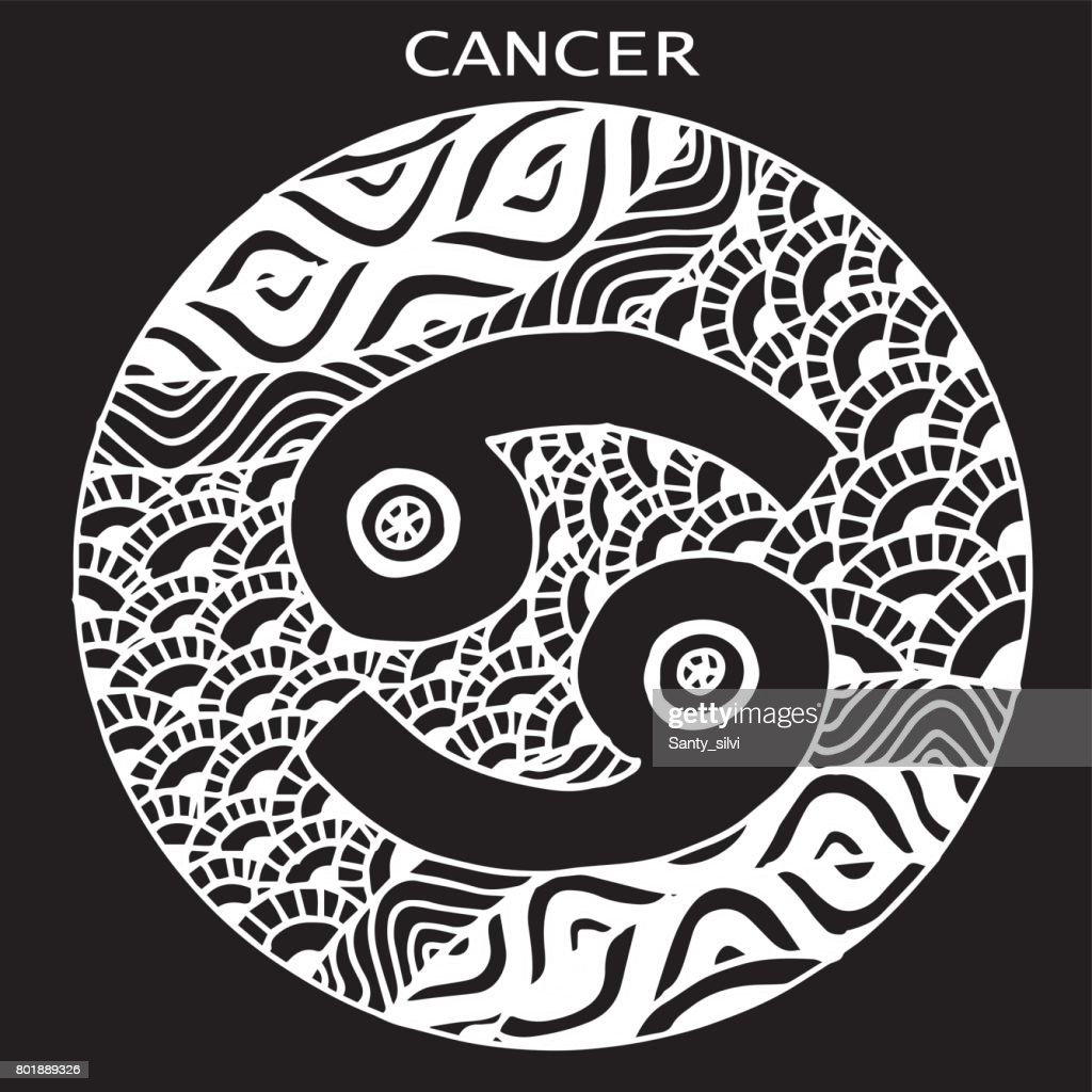 The Decorative Icon For The Zodiac Sign Cancer Illustration Postcard