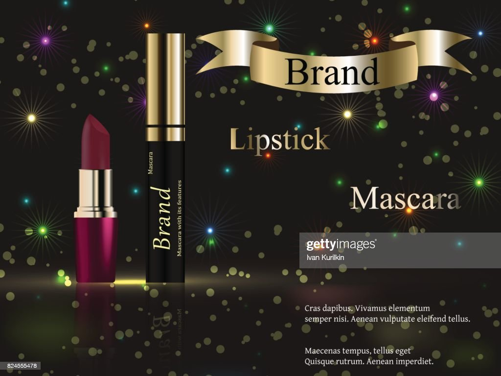 the design of cosmetics, Burgundy lipstick and mascara on a dark background with fireworks and bright spots, bright, colorful. Vector realistic 3D, advertising, banner, poster