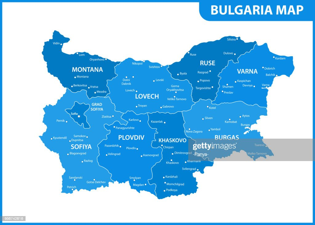 The detailed map of Bulgaria with regions or states and cities, capital. Administrative division