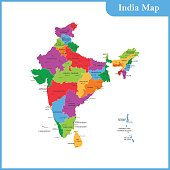 The detailed map of the India with regions or states and cities, capitals and Sri Lanka