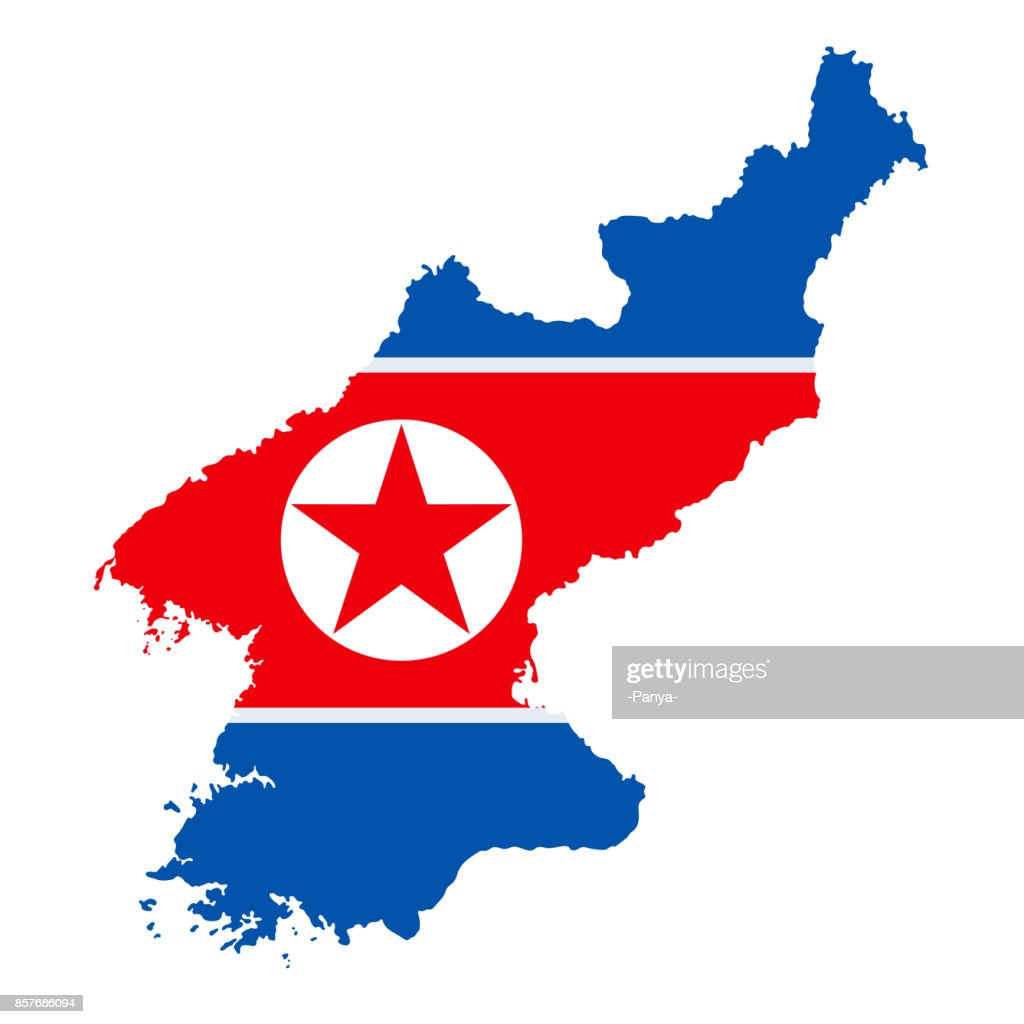 The Detailed Map Of The North Korea With National Flag Vector Art