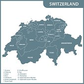 The detailed map of the Switzerland with regions or states