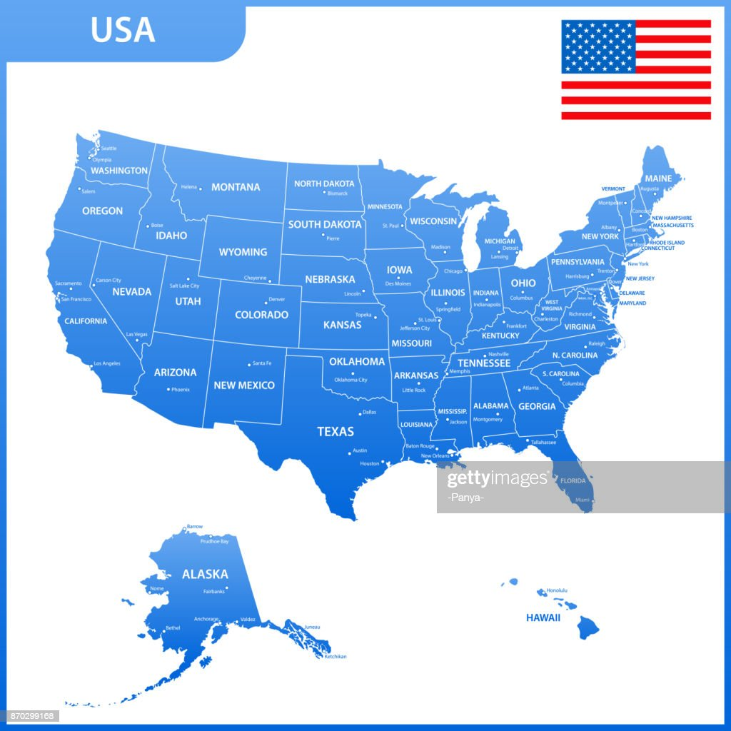 The detailed map of the USA with regions or states and cities, capital. United States of America with national flag