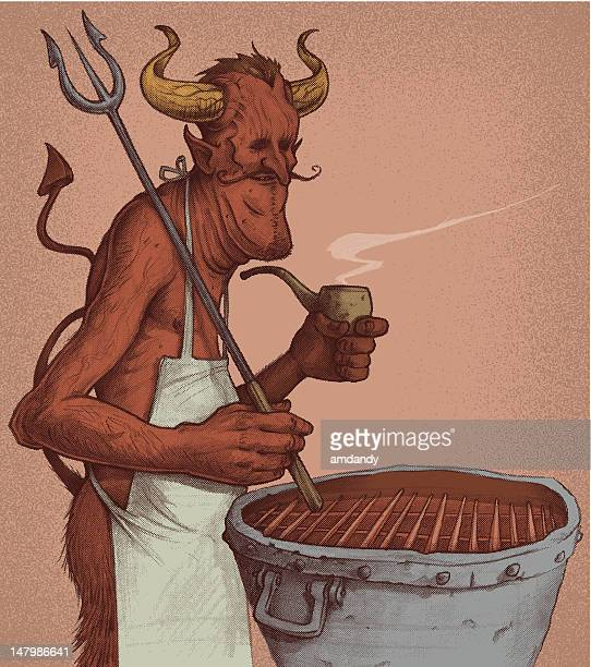 the devils cookout - sneering stock illustrations, clip art, cartoons, & icons