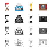 The director's armchair, a typewriter, a film festival award, a screen in the cinema. Film and Cinema set collection icons in cartoon black monochrome outline style vector symbol stock illustration web.