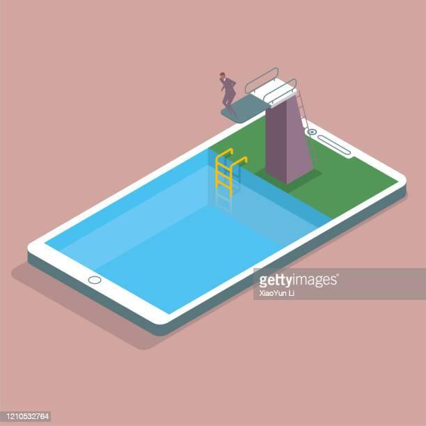 ダイビングトレーニング会場は電話で、また、スイミングプール、男は、プラットフォームから飛び降りる準備ができています。 - 水に飛び込む点のイラスト素材/クリップアート素材/マンガ素材/アイコン素材