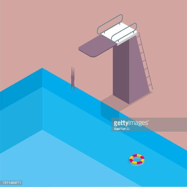 der tauchübungsplatz, ein mann springt in ein schwimmbad, lebensboje im wasser. - schwimmbecken stock-grafiken, -clipart, -cartoons und -symbole
