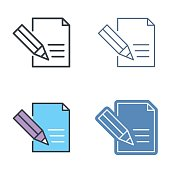 The document with pen. Vector outline icon set.