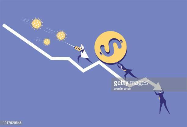 the dollar falls, doctors fight the virus - coronavirus doctor stock illustrations