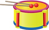 The drum sticks musical instruments toy for kids isolated on background. Vector
