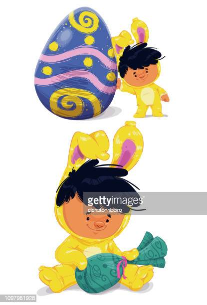 the easter bunny (children) - easter bunny costume stock illustrations, clip art, cartoons, & icons