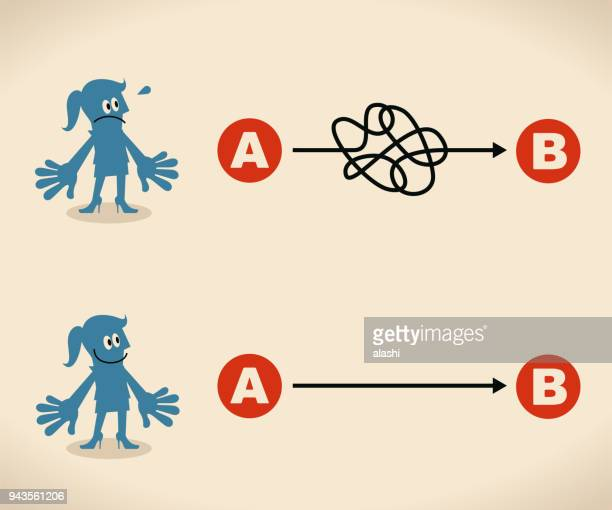 the easy way or the hard way. businesswoman want to choose the right path - chaos stock illustrations