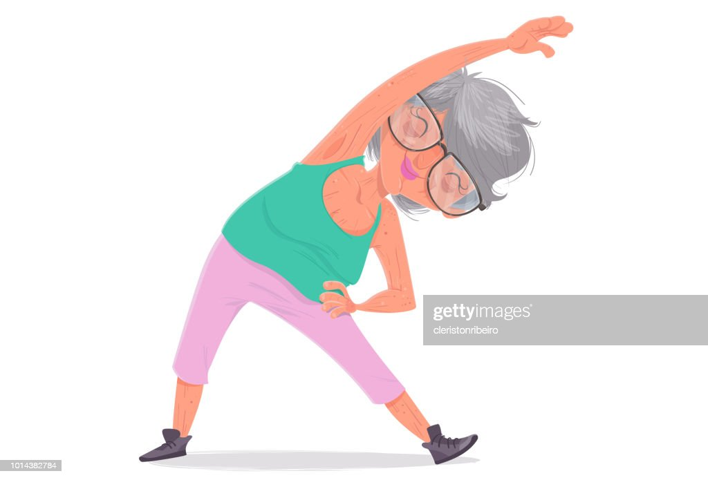 The Elderly and the exercises : stock illustration