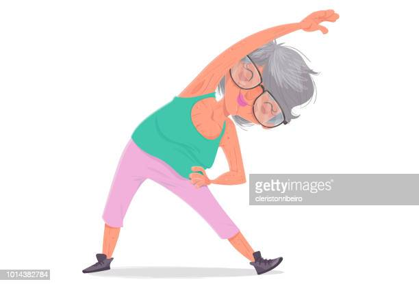 the elderly and the exercises - stretching stock illustrations