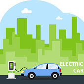 The electric car is charging. Eco car.