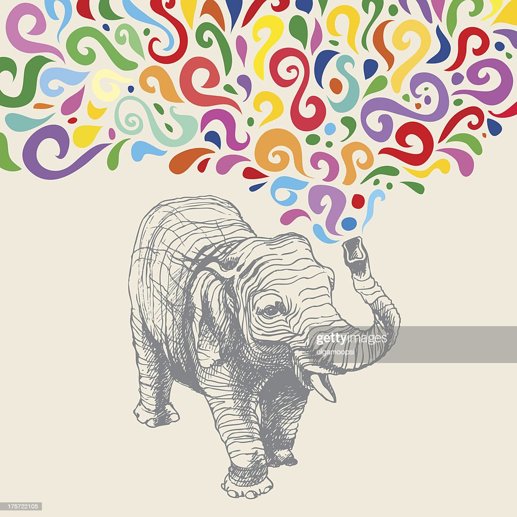 The elephant with colorful  abstract fountain. Hand drawn vector illustration.
