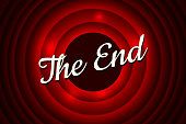 The End handwrite title on red round bacground. Old movie ending screen. Vector illustration