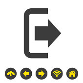 The exit icon on white background.