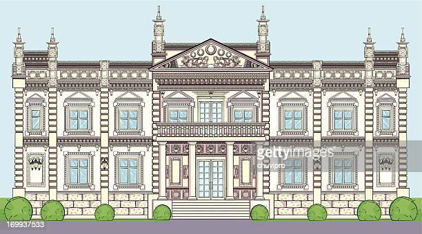 the facade of a palace in classical european style - classical architectural style stock illustrations, clip art, cartoons, & icons