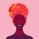 The face of a happy African girl. Avatar of a laughing woman.