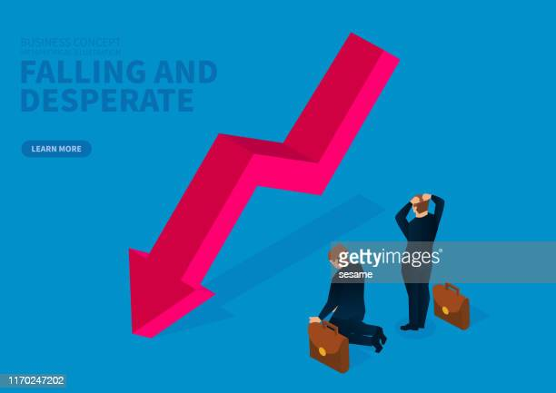 the falling arrow makes the businessman feel desperate and helpless - deterioration stock illustrations