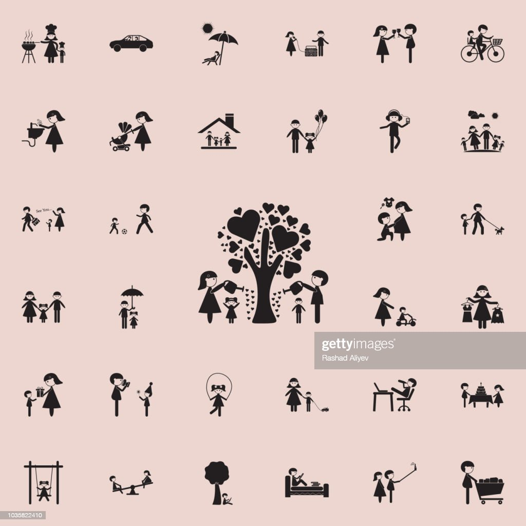 the family watered the tree of loveicon. Family icons universal set for web and mobile