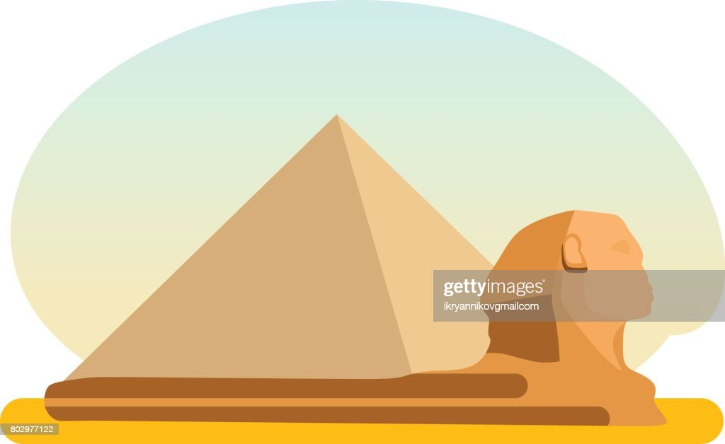The famous ancient Egyptian pyramid of Cheops and the Sphinx