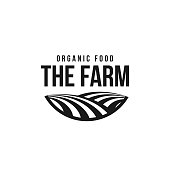The farm icon template. Meadow silhouette, land symbol with horizon in perspective. Farm food badge