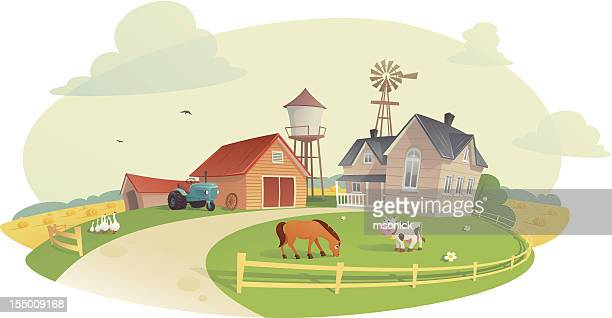 the farm - private property stock illustrations