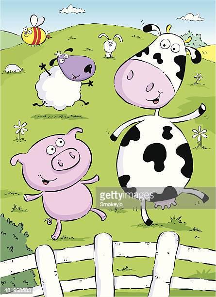 ilustraciones, imágenes clip art, dibujos animados e iconos de stock de el campo - ternera