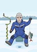The fisherman on winter fishing.