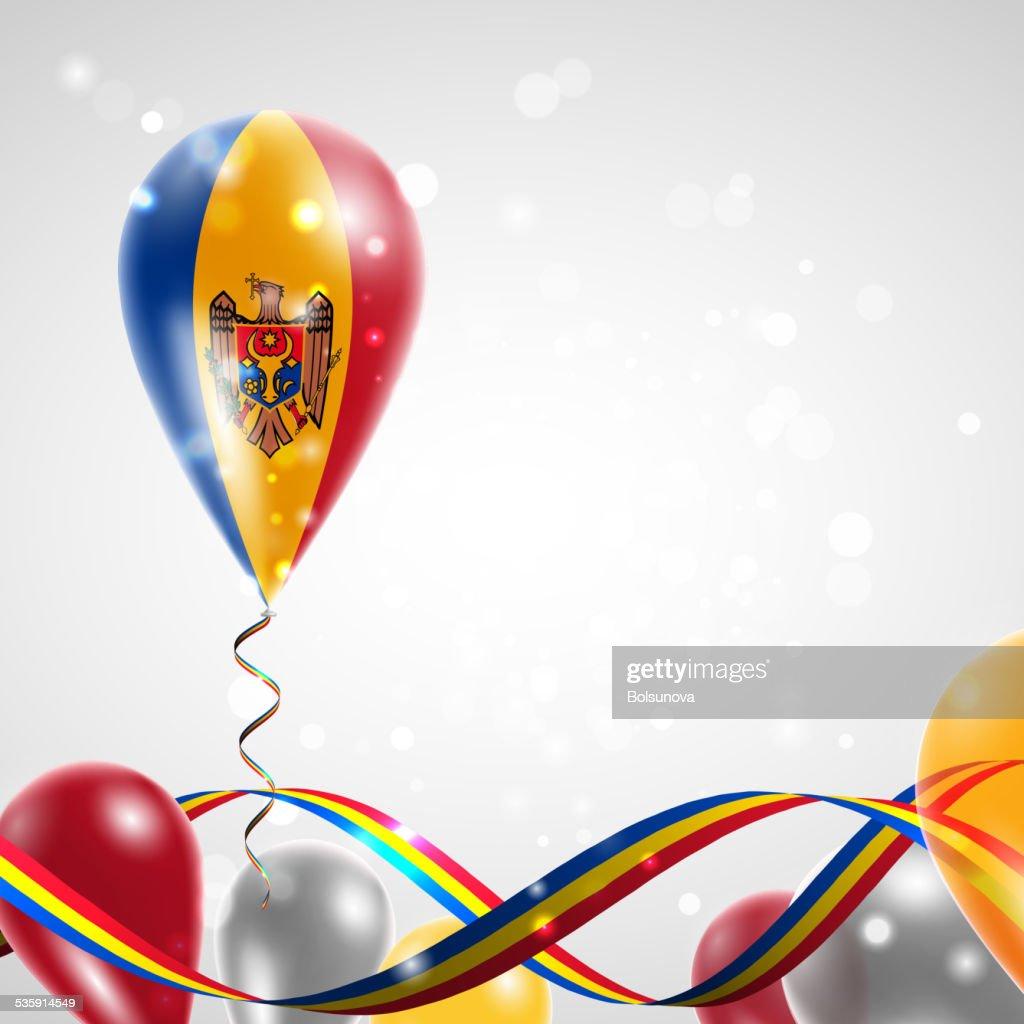 The flag of Moldova on balloon : Vector Art