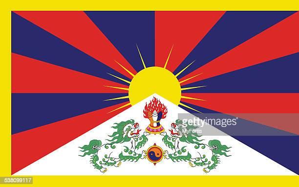 the flag of tibet - tibet stock illustrations