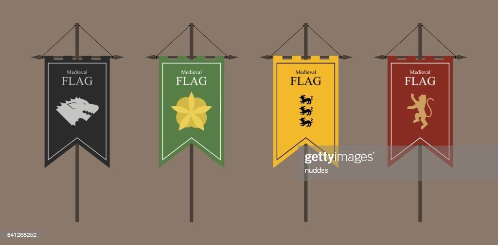 the flags of a country, state, or territory ruled by a king or queen. medieval vintage style flat design vector illustration. middle age kingdom. black green yellow red.