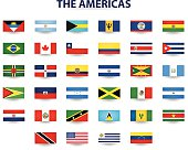 The flags of North America and South America