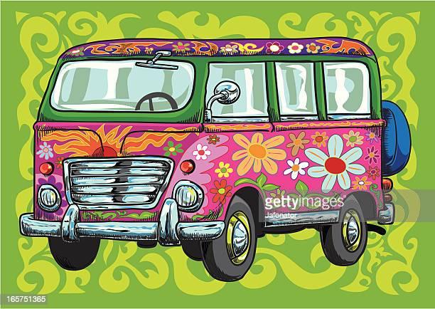 A flower power van