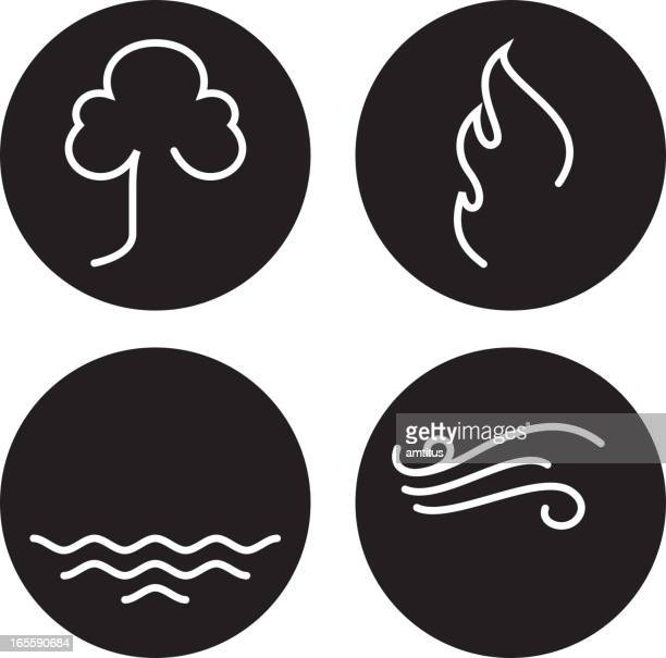 the four elements drawn in white on black dots - the four elements stock illustrations