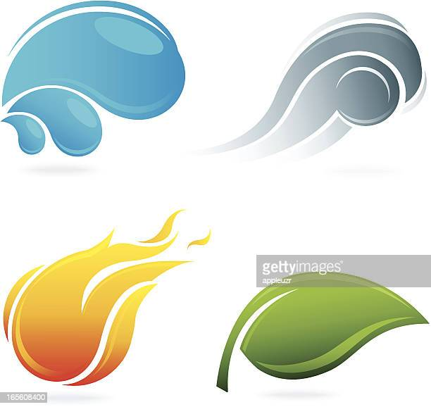 the four elements of nature - the four elements stock illustrations