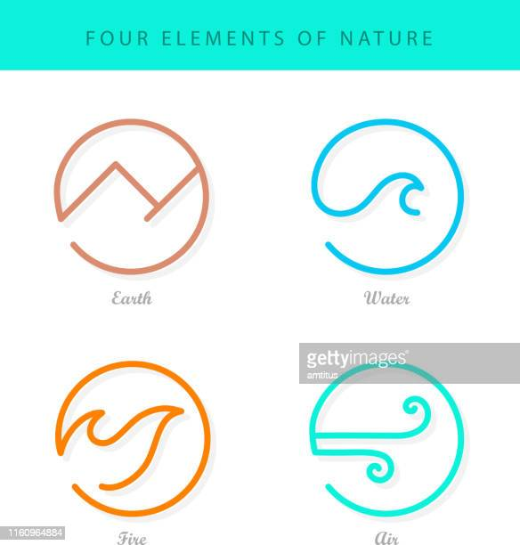 the four elements on white - the four elements stock illustrations