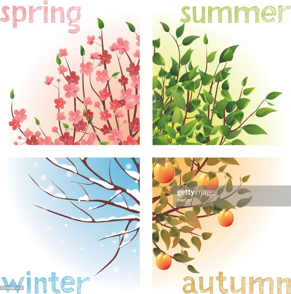 The four seasons winter, summer, autumn, and spring