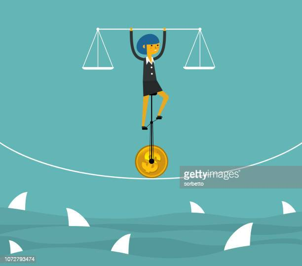 the fragile balance of business - businesswoman - vulnerability stock illustrations