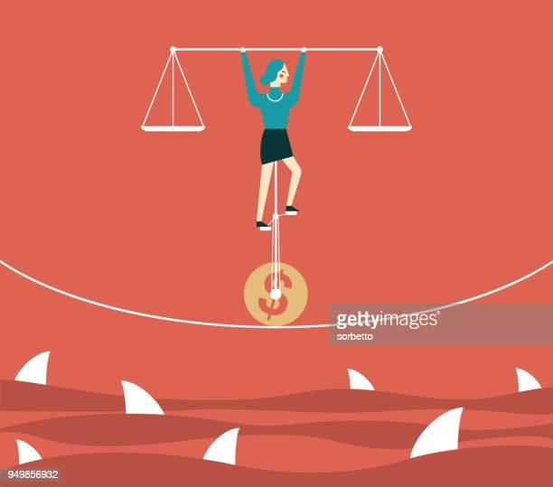 ilustrações, clipart, desenhos animados e ícones de o frágil equilíbrio do negócio - empresária - incerteza