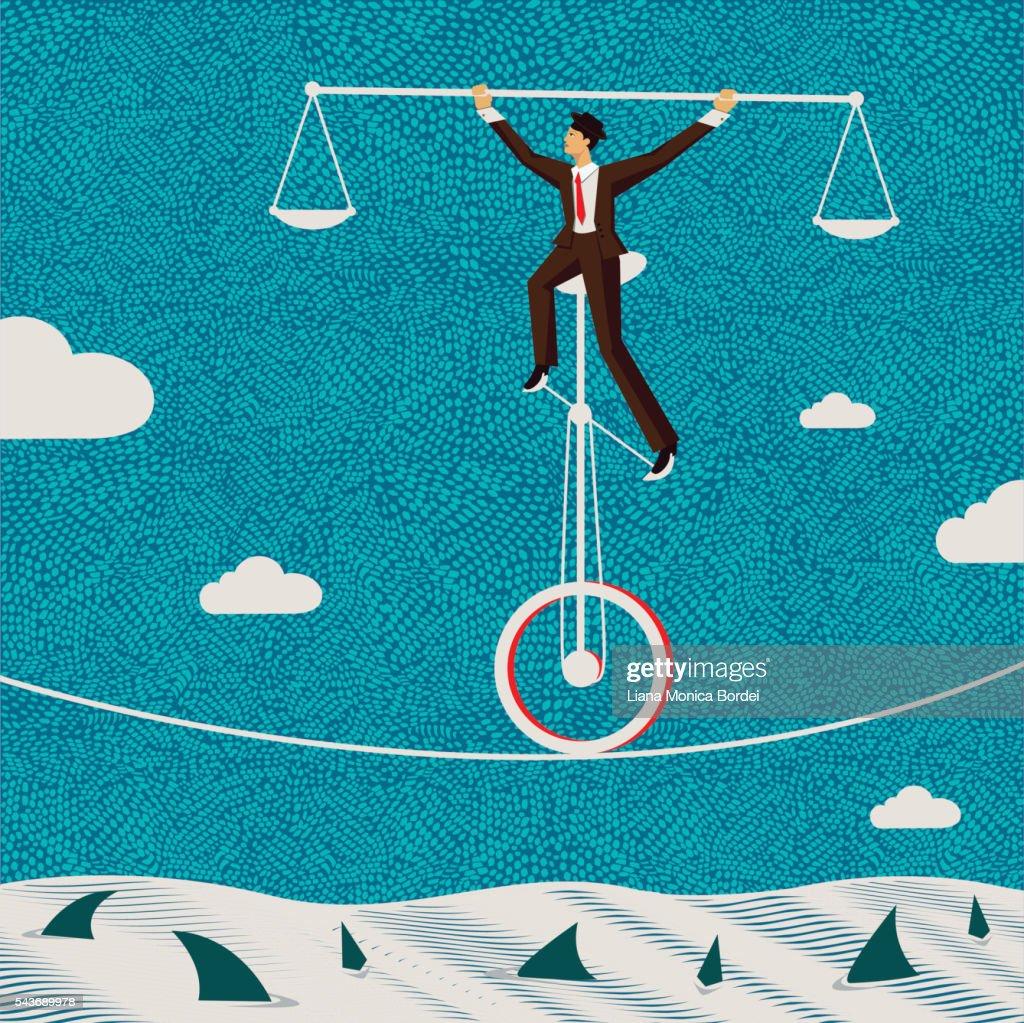 The fragile balance of business : stock illustration