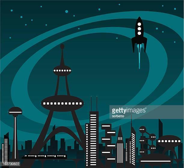 illustrations, cliparts, dessins animés et icônes de l'avenir sur la ville - ville futuriste